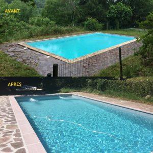 Tour de piscine en pierre grise d'une villa privée en pierre posé par l'équipe du Maitre Artisan Maçon Ramuntxo Elisabelar