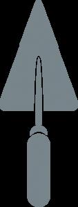 Truelle grise, partie du logo de Ramuntxo Elisabellar, Maître artisan maçon au pays basque