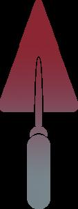 Truelle rouge, partie du logo de Ramuntxco Elisabellar, Maître artisan maçon au pays basque